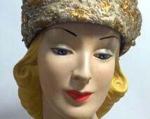 vintage Golden Metallic Pillbox Hat with Beads 1960s M