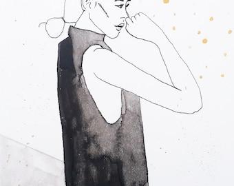 PRINT - Black, White and Gold Fashion Illustration