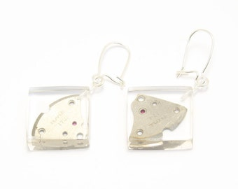 Steampunk earrings: transparent squares with vintage watch parts on silver findings