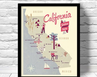 California Map, The Golden state map, original map, nursery map, Home State Map, California poster, modern family map,family map