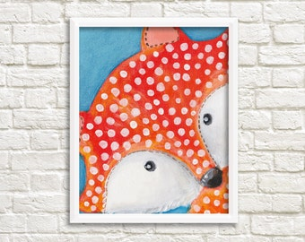 DIGITAL Print kids art FOX with dots - Instand download - Foxes painting (0006)