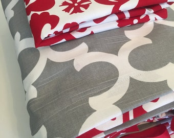 SALE 15% OFF Lipstick Red and Gray  Dorm Twin, Twin Full / Queen King / Cal King