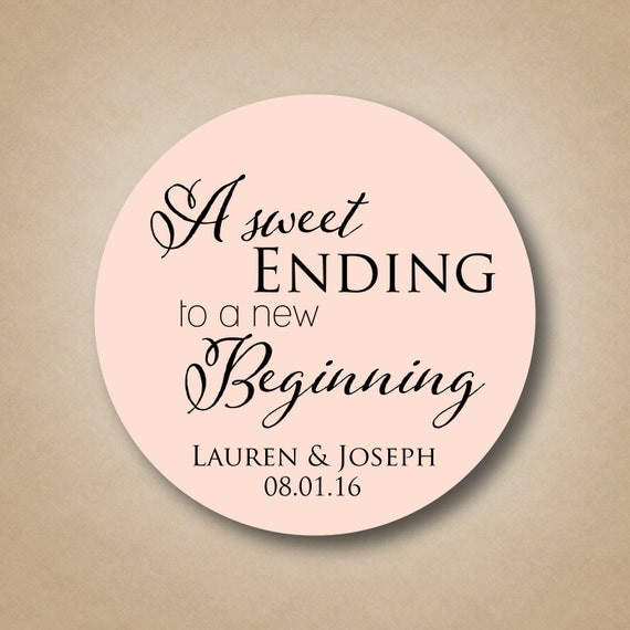 a sweet ending to a new beginning personalized wedding favor