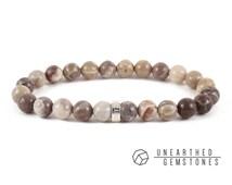 Fossil Coral Bracelet -Mineral Bracelet, Stretch Bracelet, Organic Mineral Jewelry, Semi Precious Gemstone, Fossil Jewelry