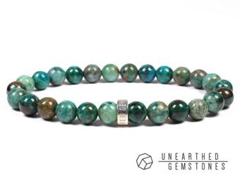 Chrysocolla Bracelet - Mens Bracelet, Turquoise Bracelet, Chrysocolla Jewelry, Gemstone Bracelet, Stone Bracelet, Cyan, Stone Jewelry
