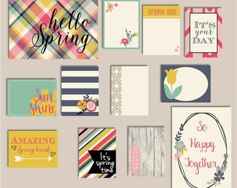 "Project life story journal cards ""SPRING FLING"" 12 cards, printable, scrapbook, spring, summer, matching paper, plaid, flowers, hand drawn"
