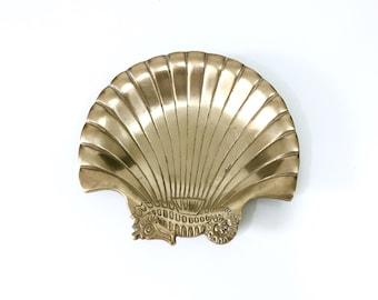Vintage Brass Seahorse Shell Tray, Vintage Brass Dish