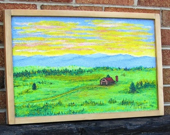 BARN In MOUNTAIN Valley - Original Painting Handmade Frame 20-1/2x13-1/2 No. 092