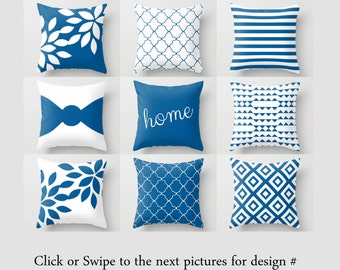Throw Pillow Covers Cobalt Pillow Covers Accent Pillow Cover Decorative Pillow Cover Cobalt and White Pillow Covers Home Decor Cushion Cover