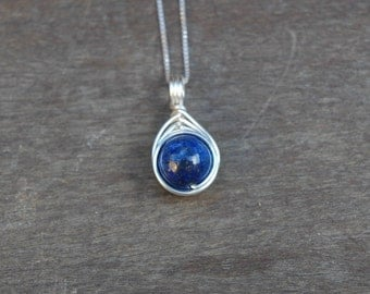 Lapis Lazuli 10mm Drop Wire Wrapped Pendant (Free shipping in Canada!)