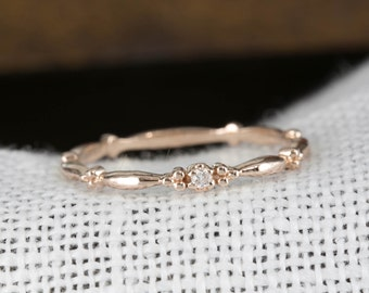 14k rose gold tiny diamond ring, diamond stack ring, simple diamond ring,minimalistic diamond ring,rose gold,stack-r106-dia