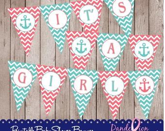 Coral Teal Nautical Anchor It's A Girl Baby Digital Printable Banner DIY