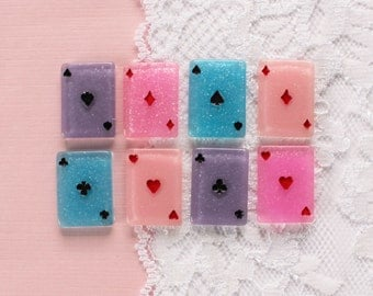 8 Pcs Glittery Pastel Suit Playing Card Cabochons - 22x16mm