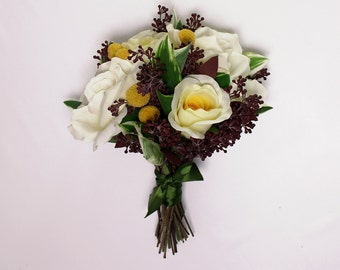 Wedding Bouquet, Yellow Roses, Bride Bouquet, Bridesmaid Boquet, Hand-tie, Silk Roses, Dried Flowers, Bridal Bouquet, Wedding Flowers