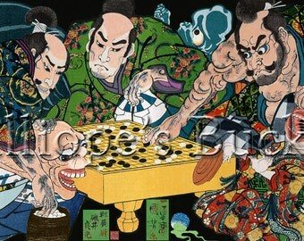 Samurai and demons at a Go board (主馬佐酒田公時) - this Ukiyo-e can be customized with your game.