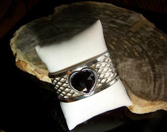 Genuine Heart Shaped Spinel & Sterling Silver Cuff Bracelet - Hand made