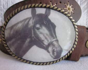 Citation Thoroughbred Race Horse rustic vintage print Belt Buckle mens belt buckle women's belt buckle resin belt buckle cowboy belt buckles
