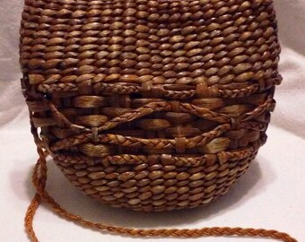 Vintage Woven Basket Purse, Wicker Rattan Shoulder Bag by Valerie, Philippines