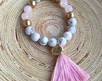 Tassel Bracelet, Rose Quartz Beaded Bracelet with Pastel Pink Tassel.