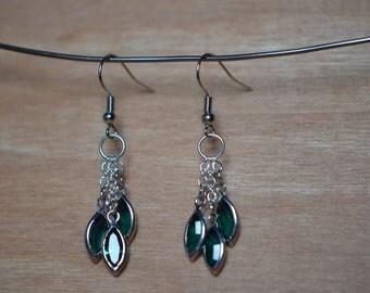 Swarovski Jeweled Dangle Earrings in Emerald