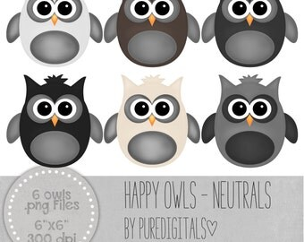 Owls Clip Art, Owls PNG, Digital Scrapbooking, Scrapbooks, Colored Owls, Digital Owls, Digital ClipArt, Digital Clip ARt