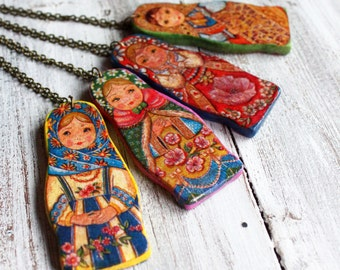 Babushka necklace babooshka necklace  wooden necklace decoupage jewelry ethnic necklace traditional jewelry gift for mom gift for her