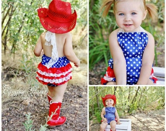 Toddler Girls July 4th Outfit // Baby Girl Outfits // Girls Summer Outfit // Baby Girls Fourth Of July Outfits // Red White Blue Romper