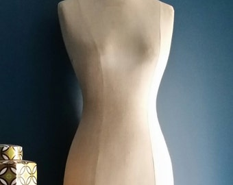 Vintage Dress Form - Mannequin - Linen - Wooden