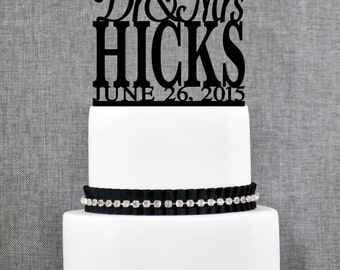 Elegant Dr and Mrs Last Name Wedding Cake Topper with Date, Unique Personalized Wedding Cake Topper, Perfect Engagement Gift - (T033)
