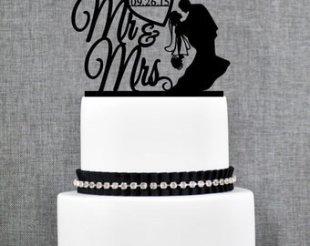Mr and Mrs Silhouette Couple with DATE Wedding Cake Topper, Classic Wedding Cake Topper, Elegant Custom Wedding Cake Topper- (T227)