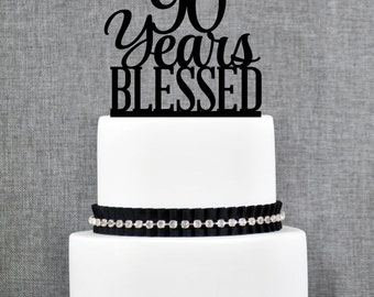 90 Years Blessed Birthday Cake Topper, Elegant 90th Cake Topper, 90th Anniversary Cake Topper- (T260-90)