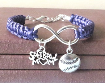 Softball Mom Athletic Charm Infinity Bracelet Coach Charm You Choose Your Cord Color(s)