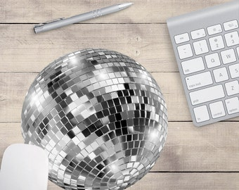 Silver Disco Ball Mouse Pad, Cute Mouse Pad, Sequin Mouse Pad, Disco Coaster, Disco Ball Coaster (0003)