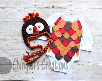 Turkey Bodysuit and Hat Outfit Crochet Turkey Hat Turkey Bodysuit Baby Turkey Outfit Baby Turkey Outfit