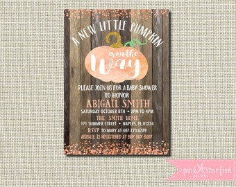 Pumpkin Baby Shower Invitation, Fall Baby Shower, Confetti Baby Shower Invitation, Baby Shower, Shabby Chic, Rustic, Pumpkin, Digital