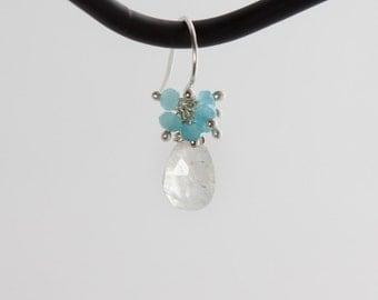 Aqua Chalcedony and Moonstone earrings
