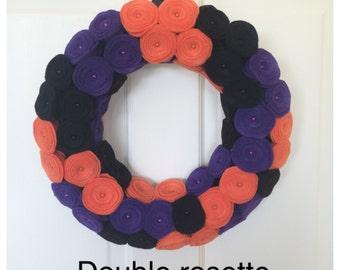 Halloween rosette wreath, rosette wreath, Halloween wreath