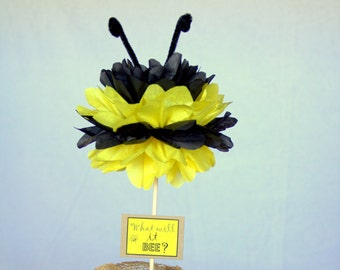 Bumble Bee Tissue Pom Centerpiece What Will It BEE Gender Reveal Decor