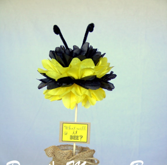 Bumble Bee Tissue Pom Centerpiece What Will It BEE Gender