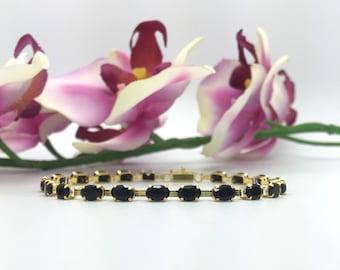 14K Yellow Gold Onyx Tennis Bracelet