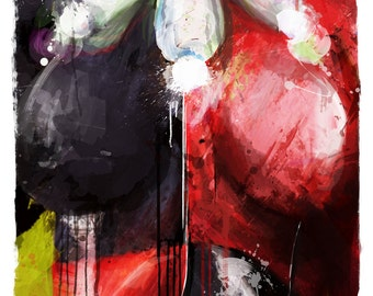 "Gotham's Worst Harley Quinn Abstract Art Panel, 11"" x 17"" art print mounted on board"