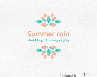 Watercolor logo, photography logo design, watermark in orange and green, business branding