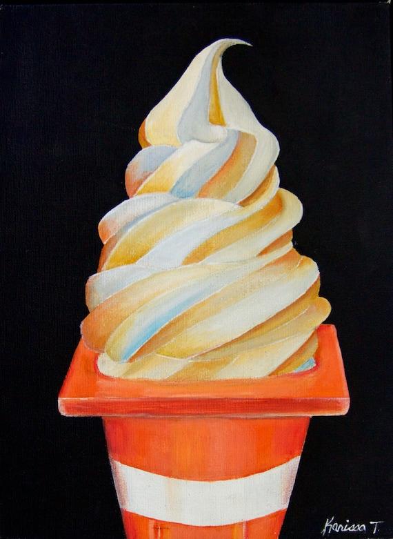 Ice cream in traffic cone, soft serve, swirl, icecream, dessert, cone, PRINT of painting
