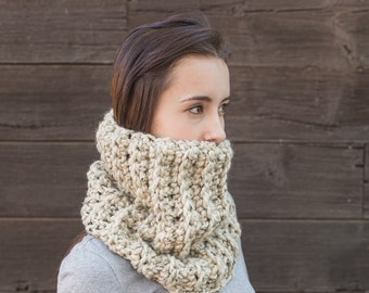 Oatmeal Cowl Scarf // Chunky Knit Cowl // Holiday Gifts for Her // Wool Cowl Scarf // THE ZOLA shown in Oatmeal