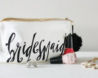 Bridesmaid Makeup Bag - Bridesmaid Gift, Maid of Honor Gift, Favor Bags, Gift Bags, Bridal Party Bags Bride Bag Wedding makeup Bag