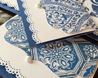 "Swiss Blue Stationary/ 5 Handmade ""Spode"" Blue laceThank You Notecards/ Bridal Shower Invitations/"