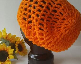 Crochet Summer Slouchy Hat - Orange