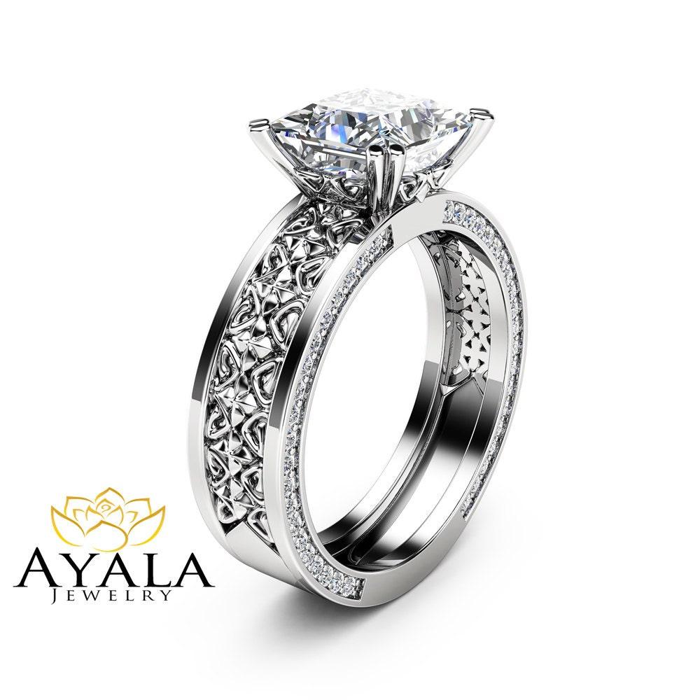 7mm Princess Moissanite Engagement Ring Forever Brilliant