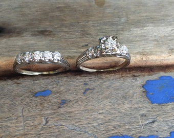 Reserved payment 1/5 Mid century wedding set 14K white gold size 9