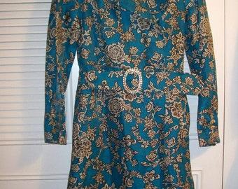 Dressy Coat Dress by WD - NY. Rhinestone Belt Buckle and Cuffs. Stunning Size 10